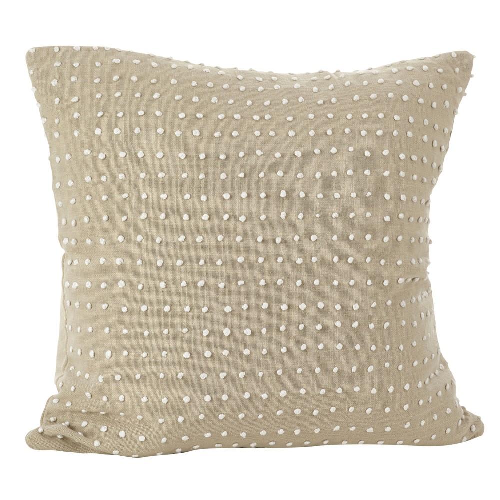 Light Brown Leilani French Knot Design Throw Pillow (20) - Saro Lifestyle