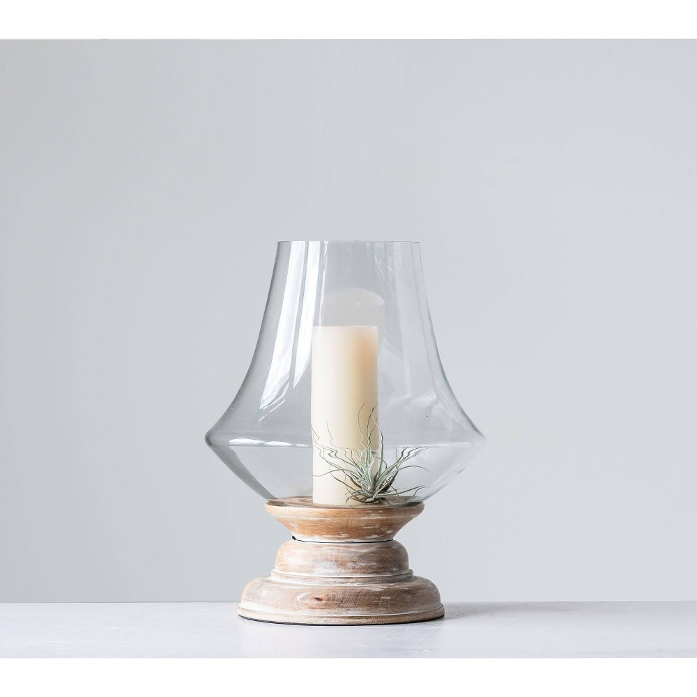 "Image of ""16"""" x 13"""" Glass Hurricane Candle Holder with Mango Wood Base Natural/Clear - 3R Studios"""