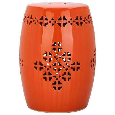 Aveiro Garden Stool - Orange - Safavieh