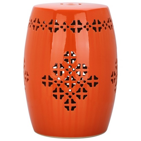 Aveiro Garden Stool - Orange - Safavieh - image 1 of 2