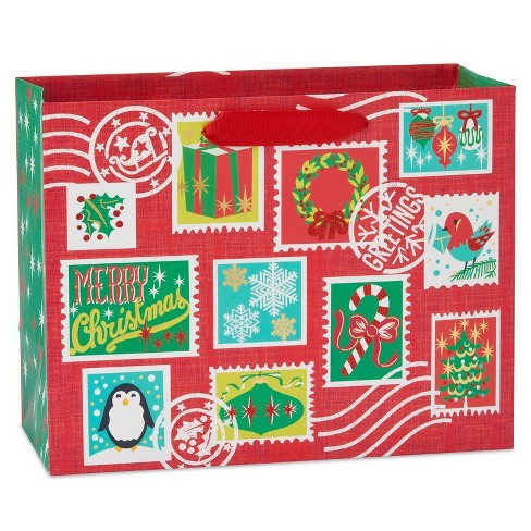Papyrus Holiday Retro Stamps Large Gift Bag - image 1 of 4