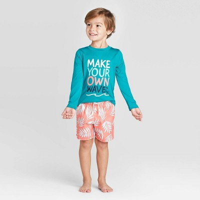 Toddler Boys' 'Make your Own Wave' Rash Guard - Cat & Jack™ Turquoise 2T