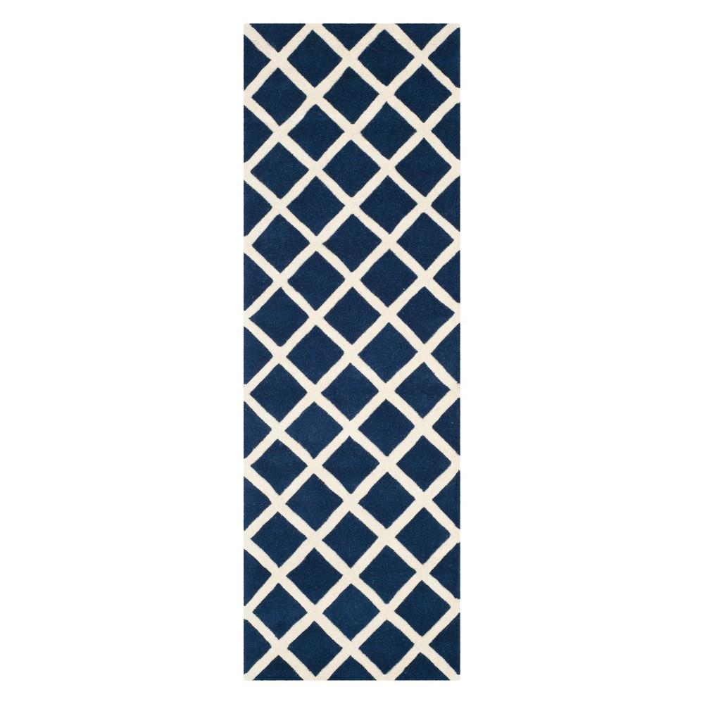 2'3X9' Geometric Tufted Runner Dark Blue/Ivory - Safavieh