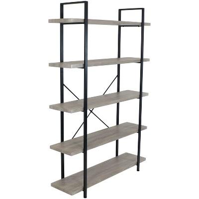 Sunnydaze 5 Shelf Industrial Style Freestanding Etagere Bookshelf with Wood Veneer Shelves - Oak Gray Veneer