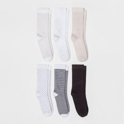 Women's Multipattern 6pk Crew Socks - A New Day™ White 4-10