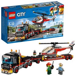 LEGO City Heavy Cargo Transport Engineering Cargo Truck and Helicopter Toy With Minifigures 60183