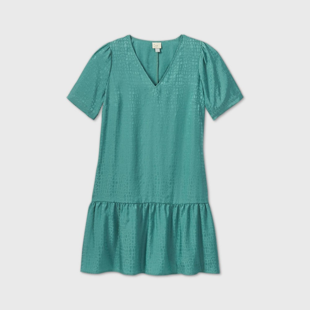 1920s Downton Abbey Dresses Womens Plus Size Short Sleeve Ruffle Hem Dress - A New Day Teal 4X Blue $24.99 AT vintagedancer.com
