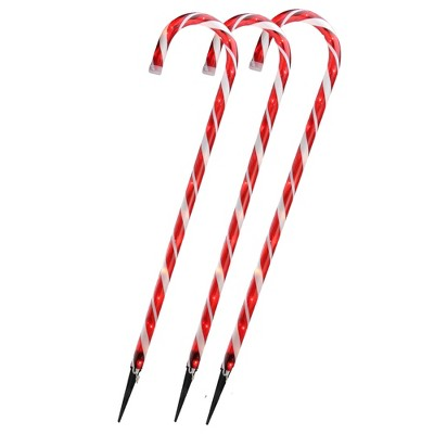 """Northlight Set of 3 Red and White Blinking Candy Cane Outdoor Christmas Pathway Markers 28"""""""