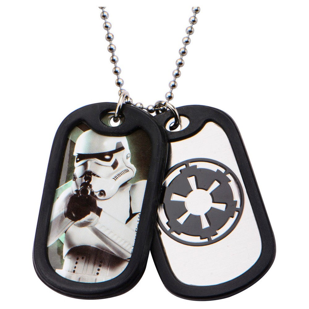Men's Star Wars Stormtrooper Stainless Steel (Silver) Double Dog Tag Pendant with Rubber Silencers (22)