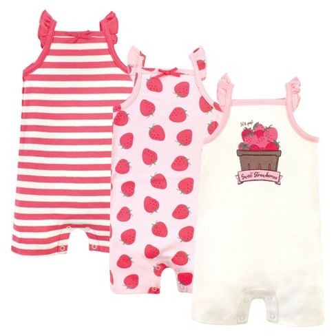 Touched by Nature Baby Girl Organic Cotton Rompers 3pk, Strawberries - image 1 of 4