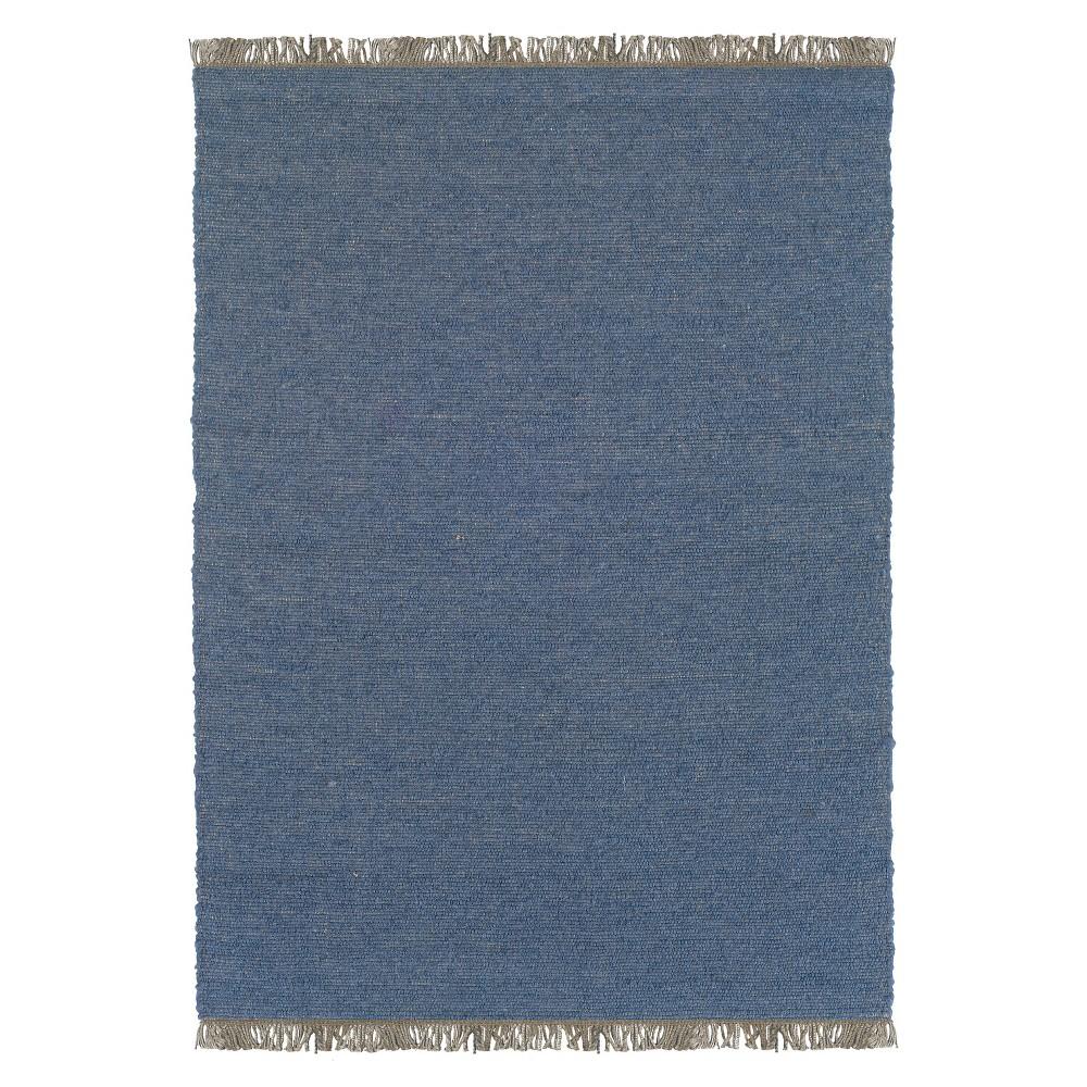 Verginia Berber Reversible Flatweave Area Rug - Denim Blue (5'3