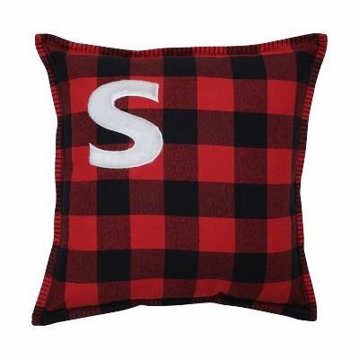 Buffalo Plaid 'S' Throw Pillow Red/Black - Pillow Perfect