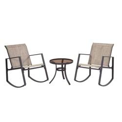 Liberty Garden Aurora 3 Piece Rocking Chair Bistro Set with Polyester Sling, Tan