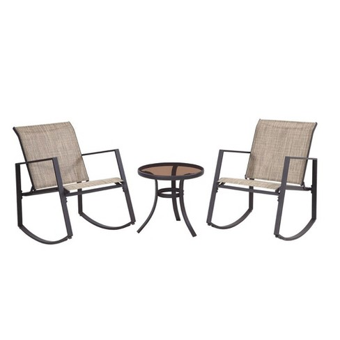 Liberty Garden Aurora 3 Piece Rocking Chair Bistro Set with Polyester Sling, Tan - image 1 of 4