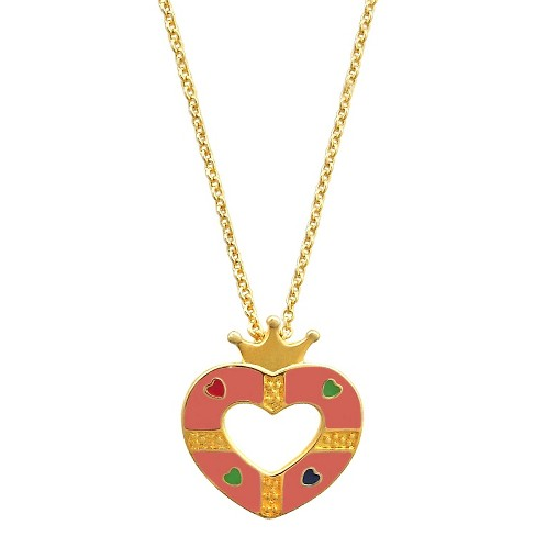 Girls' Ellen Gold Plated Heart Crown Pendant - Pink - image 1 of 1