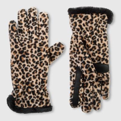 Isotoner Women's Recycled Fleece Leopard Print Gloves - Black