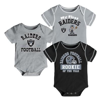 Oakland Raiders Boys' Newest Fan 3pk Bodysuit Set 3-6 M