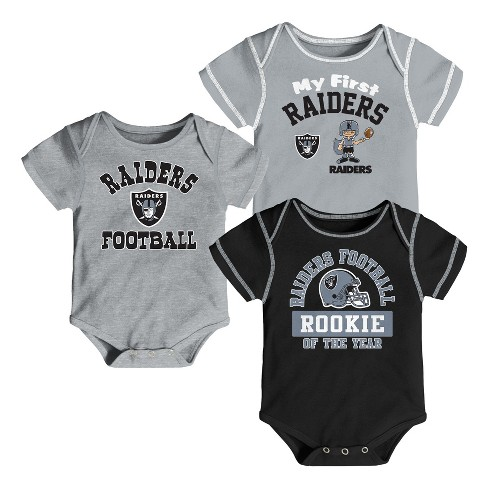 NFL Oakland Raiders Boys  Newest Fan 3pk Bodysuit Set   Target 37fa5cd86
