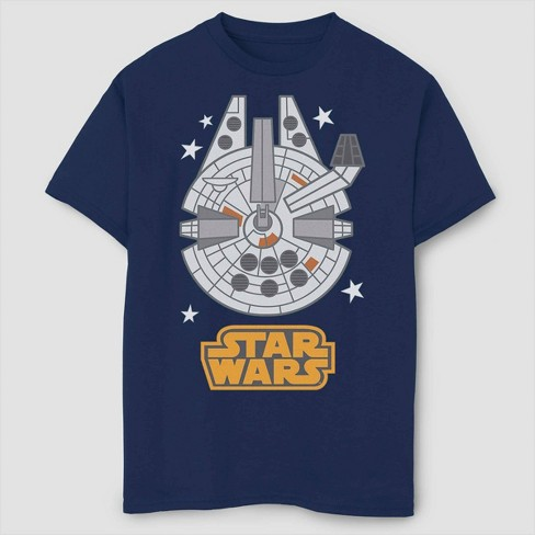 Boys' Star Wars Millennium Falcon Emoji T-Shirt - Navy - image 1 of 2