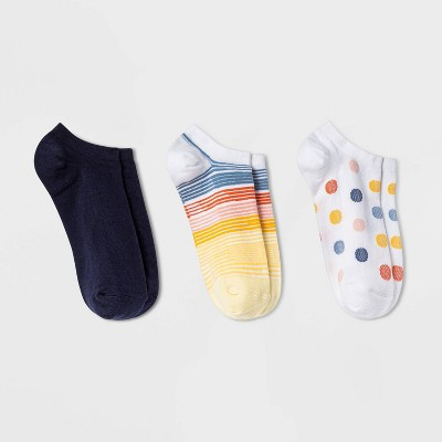 Women's Striped 3pk Low Cut Socks - A New Day™ Yellow/Blue/White 4-10