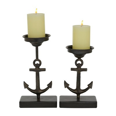 Set of 2 Metal Candle Holders with Ship Anchor Design - Olivia & May