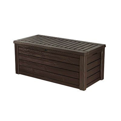 Keter Westwood 150 Gallon All Weather Outdoor Patio Storage Deck Box and Bench