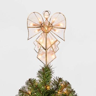 11.75in 16 Light Capiz Angel Tree Topper Clear/Gold - Wondershop™