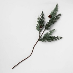 "28"" Artificial Cedar Stem with Pine Cones and Glitter Green - Threshold™"