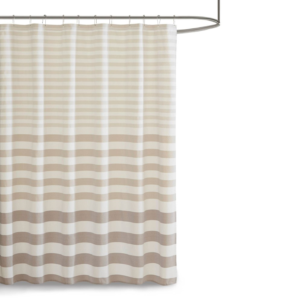 "Image of ""72""""x72"""" Colette Yarn Dyed Woven Shower Curtain Taupe, Brown"""