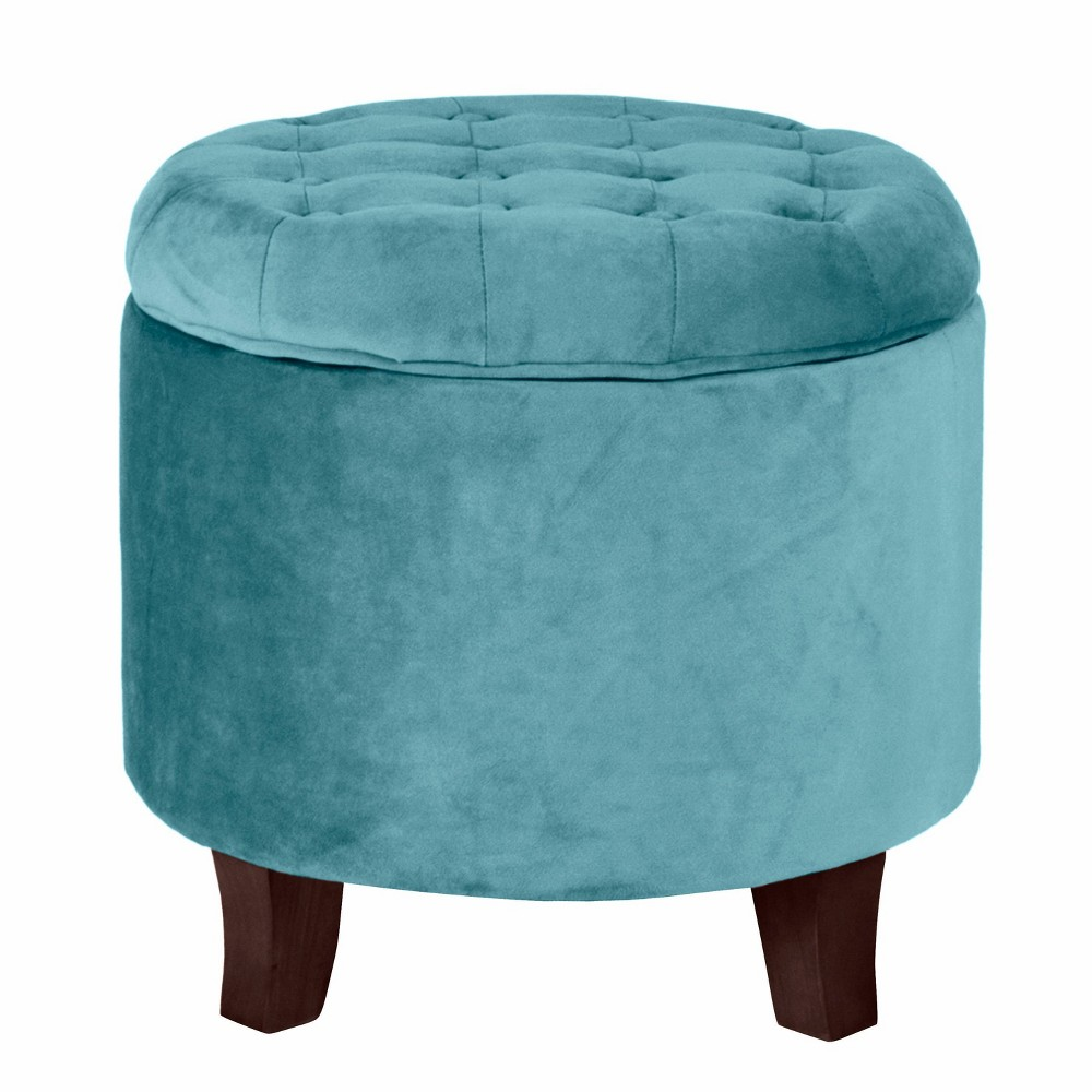Velvet Tufted Round Ottoman with Storage Teal - HomePop was $89.99 now $67.49 (25.0% off)