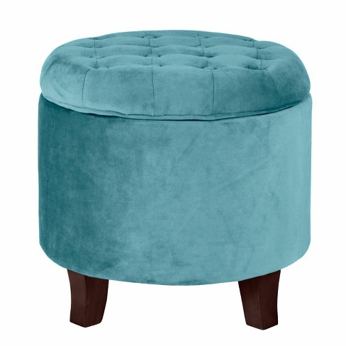 Phenomenal Velvet Tufted Round Ottoman With Storage Teal Homepop Andrewgaddart Wooden Chair Designs For Living Room Andrewgaddartcom