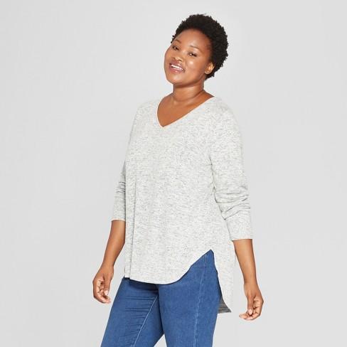 2fcb5f19f Women s Plus Size Cozy Long Sleeve V-Neck Pullover - Ava   Viv™   Target