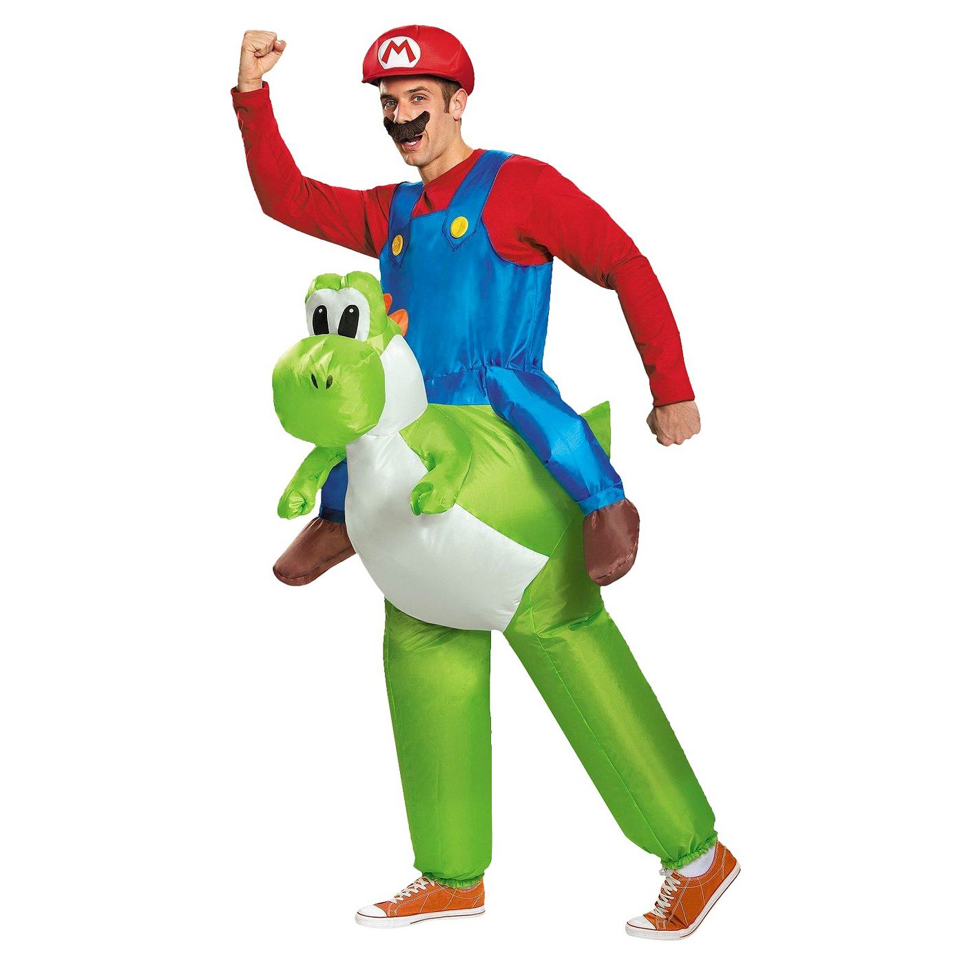 Mario Riding Yoshi Inflatable Adult Super Mario Bros Nintendo Green Costume