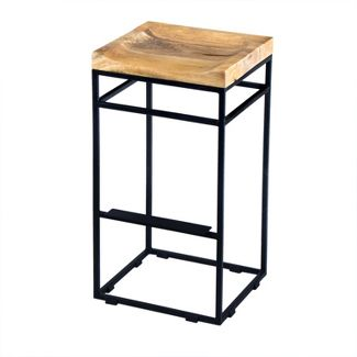 Square Mango Wood Bar Stool Camel - The Urban Port