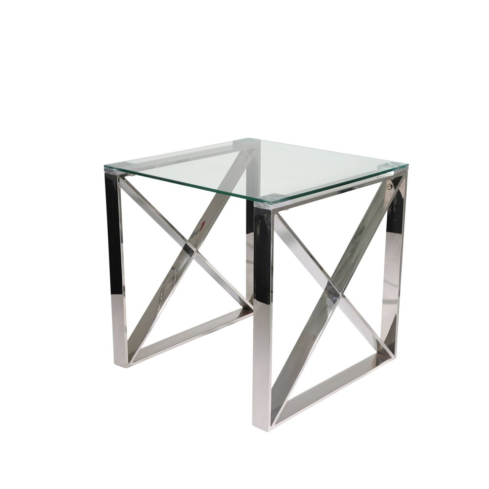 Metal Glass Accent Table X Design Silver Sagebrook Home