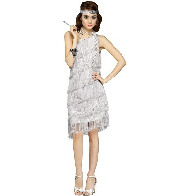 Fun World Shimmery Flapper Adult Costume (Silver)