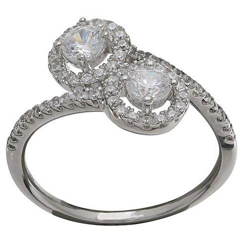 Women's Bypass Ring in Sterling Silver with Clear Cubic Zirconia in Sterling Silver - Clear/Gray - image 1 of 2