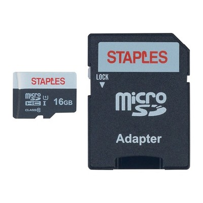 Staples 16GB High Speed Micro SDHC Card Class 10 with SD Adapter 1668460