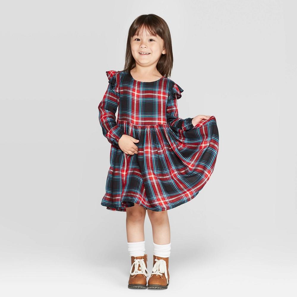 Vintage Style Children's Clothing: Girls, Boys, Baby, Toddler OshKosh Bgosh Toddler Girls Long Sleeve Plaid Dress - 5T Toddler Girls Black Red $17.99 AT vintagedancer.com
