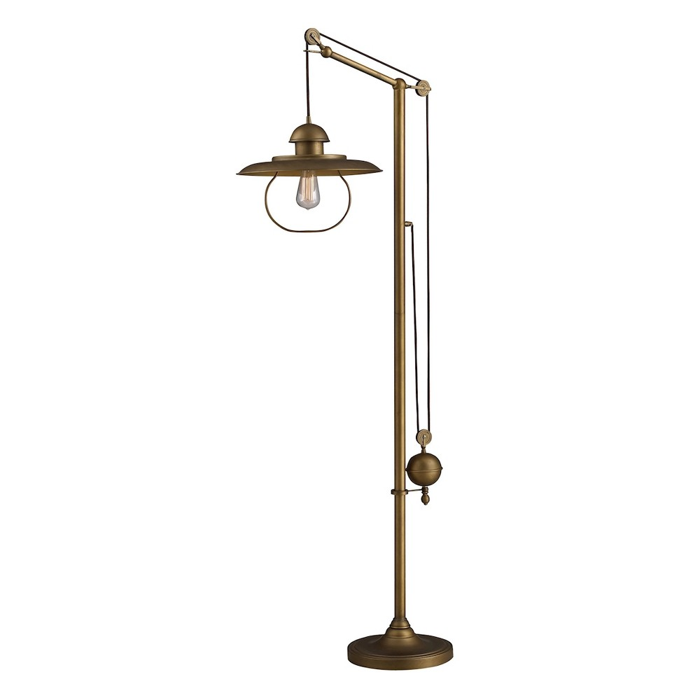 Image of Farmhouse 1 Light Floor lamp with Matching Metal Shade Antique Brass (Includes Energy Efficient Light Bulb) - Dimond Lighting