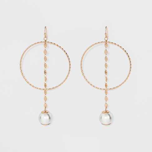 One Ring with Chain and Faux Pearl Bead Earrings - A New Day™ Gold - image 1 of 3