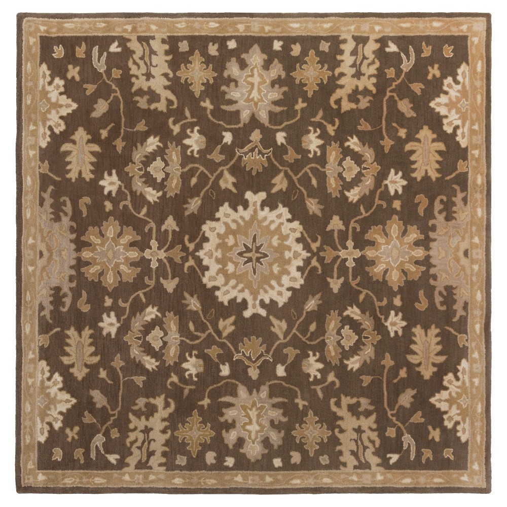 Gilgamesh Area Rug - Dark Brown, Camel - (6' Square) - Surya
