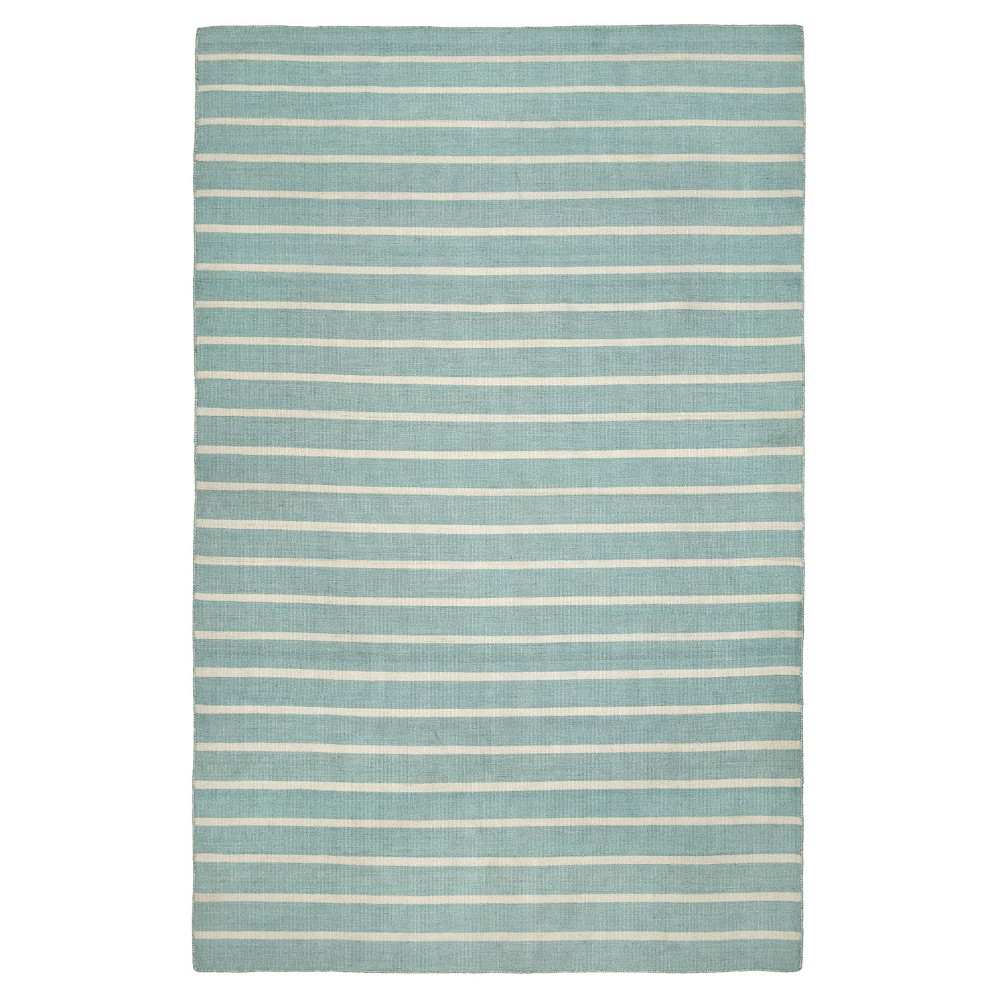 "Image of ""Sorrento Pinestripe Water Rug - Blue - (5'X7'6"""") - Liora Manne"""
