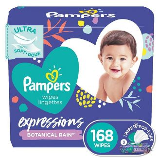 Pampers Expressions Botanical Rain Baby Wipes 3x - 168ct
