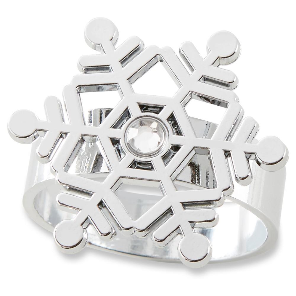Kate Aspen (Set of 12) Sparkling Snowflake Napkin Ring, Silver
