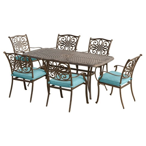 Traditions 7pc Rectangle Metal Patio Dining Set - Blue - Hanover - image 1 of 7