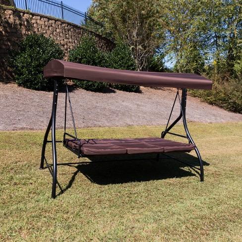 Flash Furniture 3 Seat Outdoor Steel, Patio Bed Swing