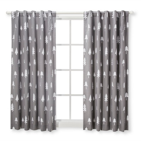 Blackout Curtain Panel Trees Cloud Island Gray Target