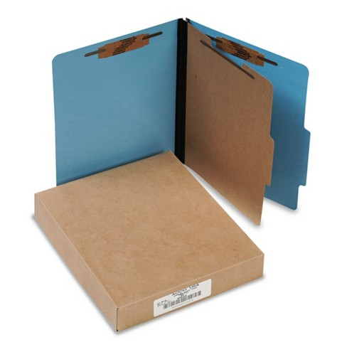 ACCO Presstex Colorlife Classification Folders, Letter, 4-Section, Light Blue, 10/Box - image 1 of 1