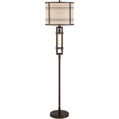 Franklin Iron Works Industrial Farmhouse Floor Lamp with Nightlight LED Oil Rubbed Bronze Oatmeal Fabric Drum Shade Living Room
